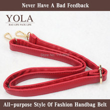 Beautiful  PU leather belt male and female bag shoulder straps,red  width 2.0cm