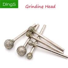 5 uds. Abrasivo herramientas amoladora cabeza de diamante recubierto esférico/cabeza de bola reparación broca de pulido 3mm caña Dremel rebabas herramienta rotativa