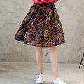 Primavera e verão mulheres bohemian saia estilo de impressão de algodão elástico metade do comprimento de saia