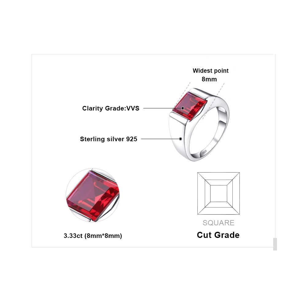 Jewpalace 3.3ct criado anel de rubi vermelho 925 anéis de prata esterlina para homens anéis de casamento prata 925 pedras preciosas jóias finas