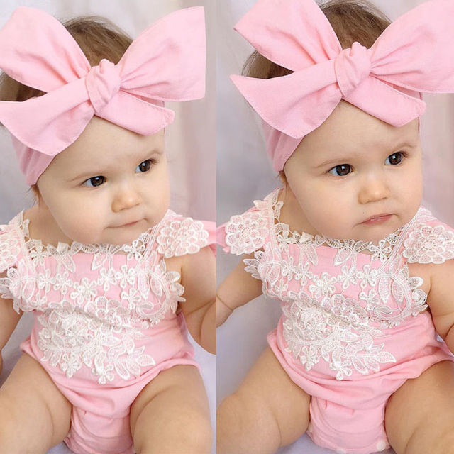 28d1eb1d3f62 Newborn Infant Baby Girls Lace Floral Clothes Bodysuits Flower Pink ...