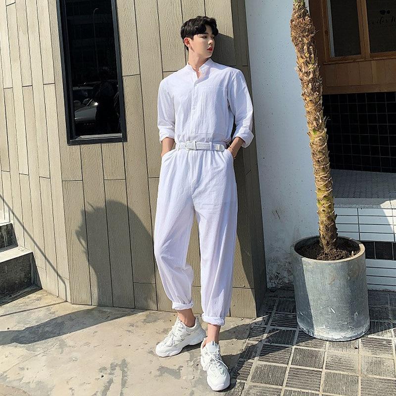 Hommes été coton lin lâche blanc combinaisons homme manches longues col montant chemise salopette pantalon Streetwear scène spectacle pantalon-in Salopette from Vêtements homme    1