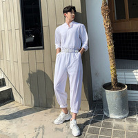 Men Summer Cotton Linen Loose White Jumpsuits Male Long Sleeve Stand Collar Shirt Overalls Pant Streetwear Stage Show Trousers