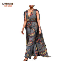 2018 spring casual jumpsuit for women african print AFRIPRIDE sleeveless ankle length cotton jumpsuit with long cloak A1829004
