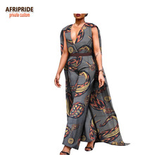 2018 spring casual jumpsuit for women african print AFRIPRIDE sleeveless ankle length cotton with long cloak A1829004