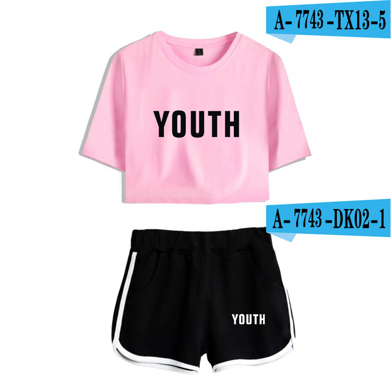 Shawn Mendes Crop Top Set Cropped Printed Suits Pink Shawn Mendes Clothing Summer Crop Top Women Tops And Pants Streetwear Women