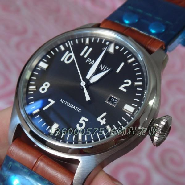 47 mm PARNIS big pilot Automatic Self Wind movement leather strap men watches high quality Mechanical