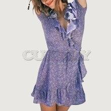 Cuerly fashion women purple summer ruffled dress 2019 beach wrap print dress female mini vestidos female  L5