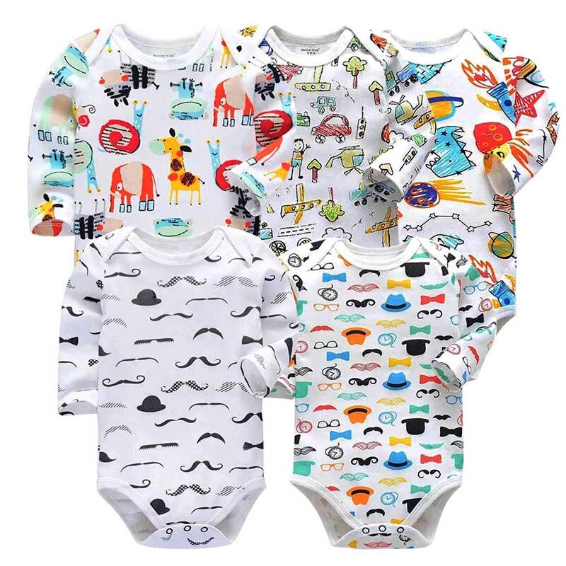 5PCS/LOT 100% Cotton Baby Bodysuit  Newborn Baby Clothing 2018 New Fashion Baby Boys Girls Clothes Long Sleeve Infant Jumpsuit