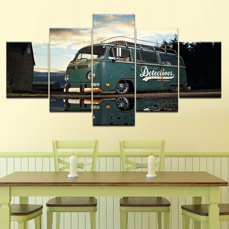Modern Artwork Home Wall Art Decor Frame Pictures HD Prints 5 Pieces Retro Volkswagen Bus Car Painting On Canvas Retro Poster in Painting Calligraphy from Home Garden