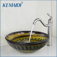 KEMAIDI Ross Bathroom Sink Washbasin Glass Hand Painted+ Brushed Nickel Kitchen Tap Sink Combine Set Tap Mixer Faucet
