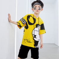 2019 Street Dance Clothing For Boy Summer Yellow Shirt Black Shorts Children Drum Hiphop Clothes Stage Costume Dance Wear VDB365