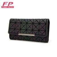 Fashion Women Long Clutch Wallet Diamond Lattice Standard Wallets Baobao Long Purse Luminous Wallets Card