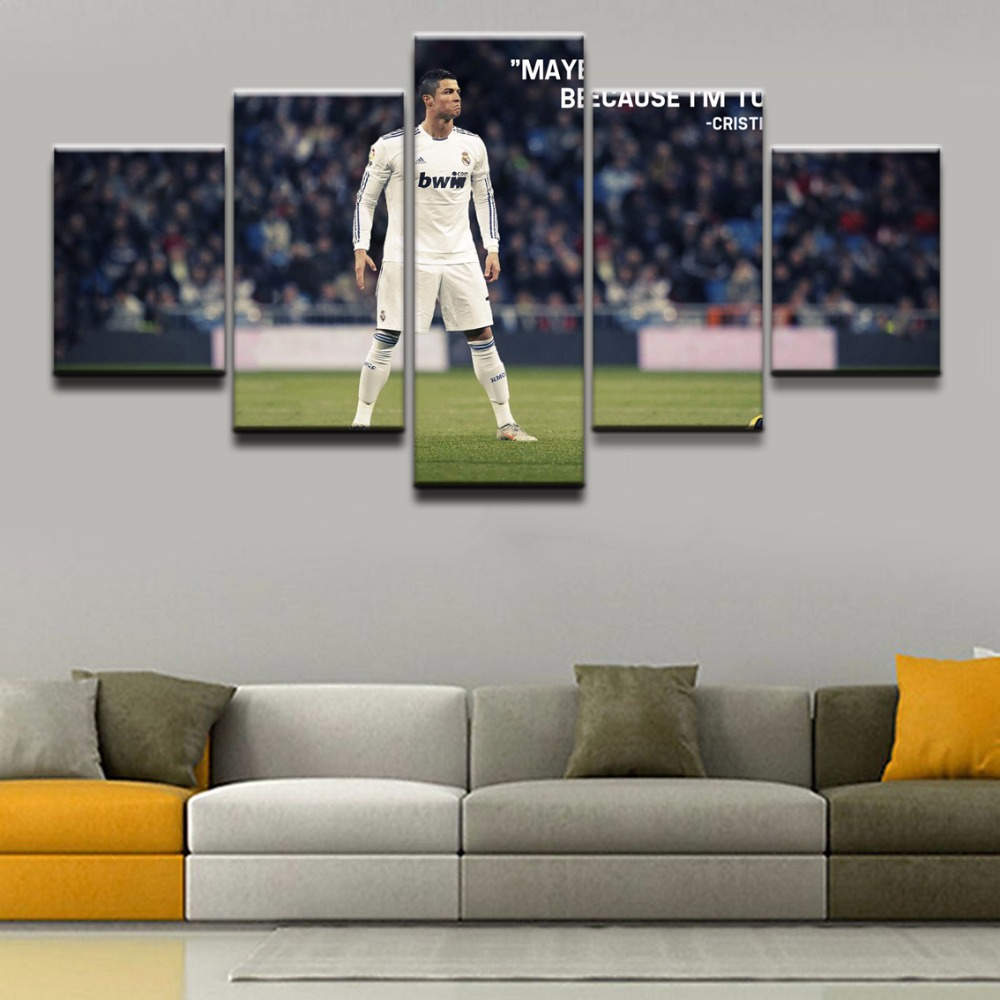 Canvas Paintings Wall Art Home Decorative Living Room 5 Pieces Cristiano Ronaldo Poster HD Prints Football Sports Pictures Frame