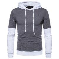 False Two Piece Patchwork Hoodie T Shirt Men Brand Clothing Men Long Sleeve T-shirt Sweatshirt Kanye West Hip Hop B133