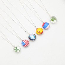 Meajoe Trendy Crystal Clover Glass Ball Pendant Necklace Charm Metal Chain Round Bead Pendants Necklaces Jewelry For Women Gift