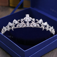 SLBRIDAL Cubic Zirconia Wedding Tiara CZ Bridal Headband Queen Princess Pageant Party Crown Hair Accessories Women Hair Jewelry