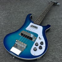Custom shop 4003 rickenback 4string bass guitar,Quality assurance,Blue paint with silver hardware,free shipping!Very beautiful!