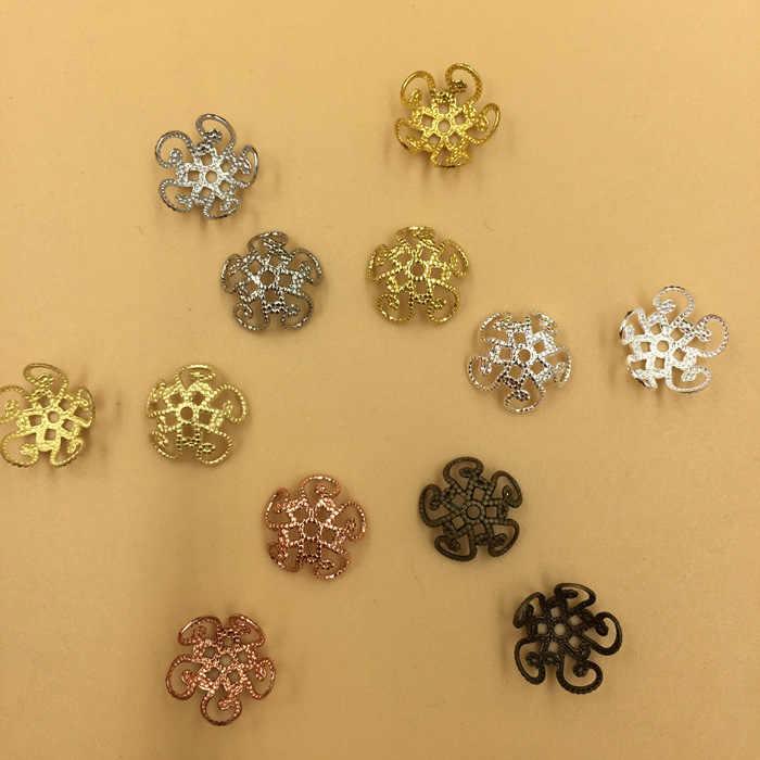 50 Buah/Lot 10 Mm Vintage Tembaga Kerawang Logam Berongga Bunga Spacer Beads Ujung Liontin Diy Hiasan Konektor Temuan Perhiasan