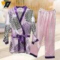 Mujeres del estilo del verano pijama Floral Twinset más tamaño traje a casa Kits niñas para duermen desgaste ropa de dormir 2 unids