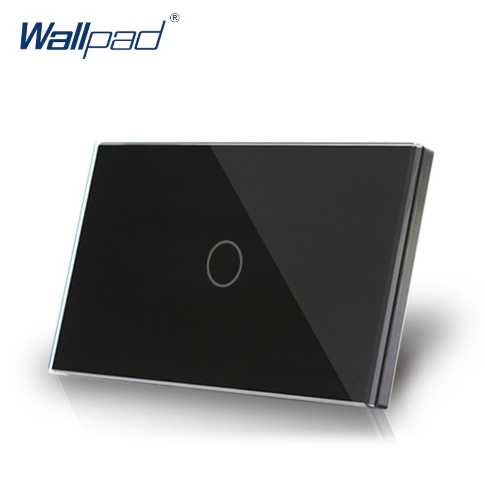 1 Gang 1 Way US/AU Standard Wallpad Touch On/ Off Switch Touch Screen Light Switch Black Luxury Crystal Glass Panel free shipping smart home us au standard wall light touch switch ac220v ac110v 1gang 1way white crystal glass panel