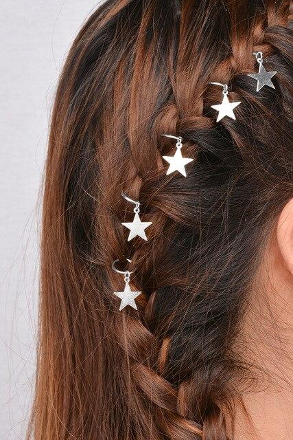 AE-CANFLY 5 قطعة النساء الفتيات الترفيه إكسسوارات الشعر السفر الشارع النار يترك نجوم قذائف الصليب دبابيس الشعر عطلة هدية