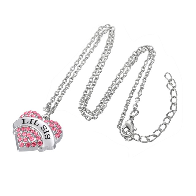 My shape 2017 fashion pink mom crystal heart necklace pendants big pendants big litter sister mother daughter jewelry for family gifts facebook google twitter pinterest aloadofball Choice Image