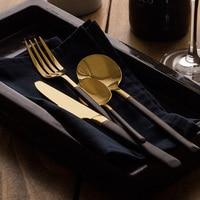 304 Stainless Steel Western style Food 3 Piece Kit Fork Dessert Tableware Black Grip Gold High Quality Steak Knives Cutlery