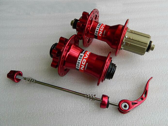 Novatec D811-15 D812-10X135 red thru alxe and quick relase hubs-5