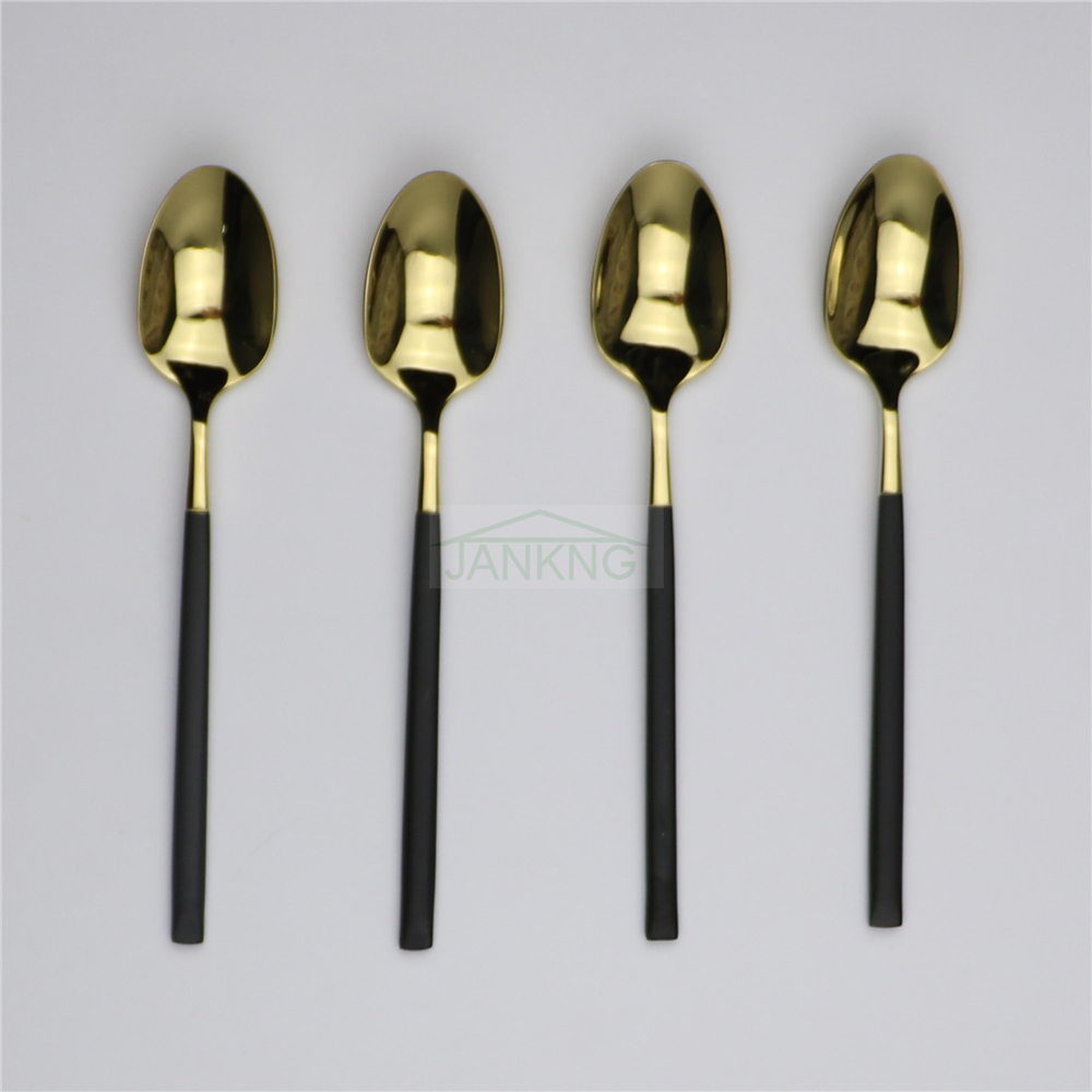 Jankng 4 Pcs Lot Stainless Steel Black Long Rice Spoon Soup Coffee Gold Ice Cream Teaspoons Tea Spoons Set In From Home Garden