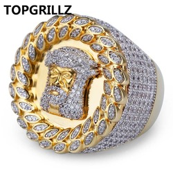 TOPGRILLZ 2018 New Arrival Hip Hop Men Ring Copper Gold Color Micro Paved AAA CZ Stone Pharaoh Round Rings With 8 9 10 11 12