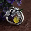 Thai Silver Pure 925 Sterling Silver Inlaid Topaz Leaves Shape Natural Stone Pendant Antique Style