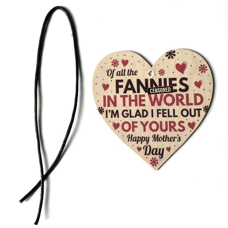 Funny Rude Happy Mothers Day Gifts Novelty Wooden Heart Love Hanging Pendant Plaque Sign Decor For Mum Daughter Son