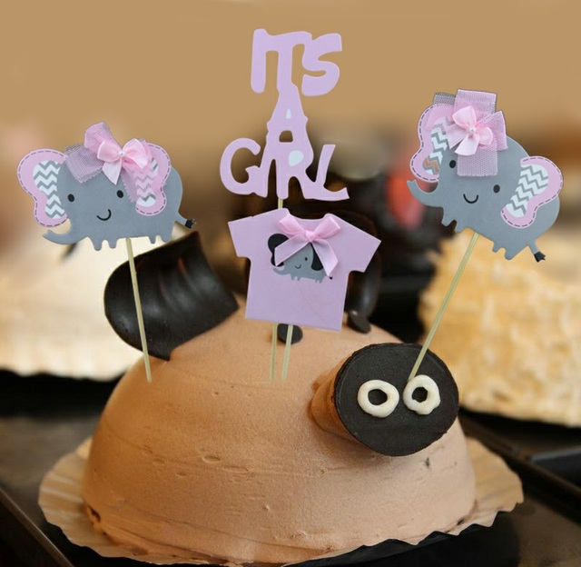 Aliexpress Buy Girl Boy Party Pink Blue Elephant Cake Topper