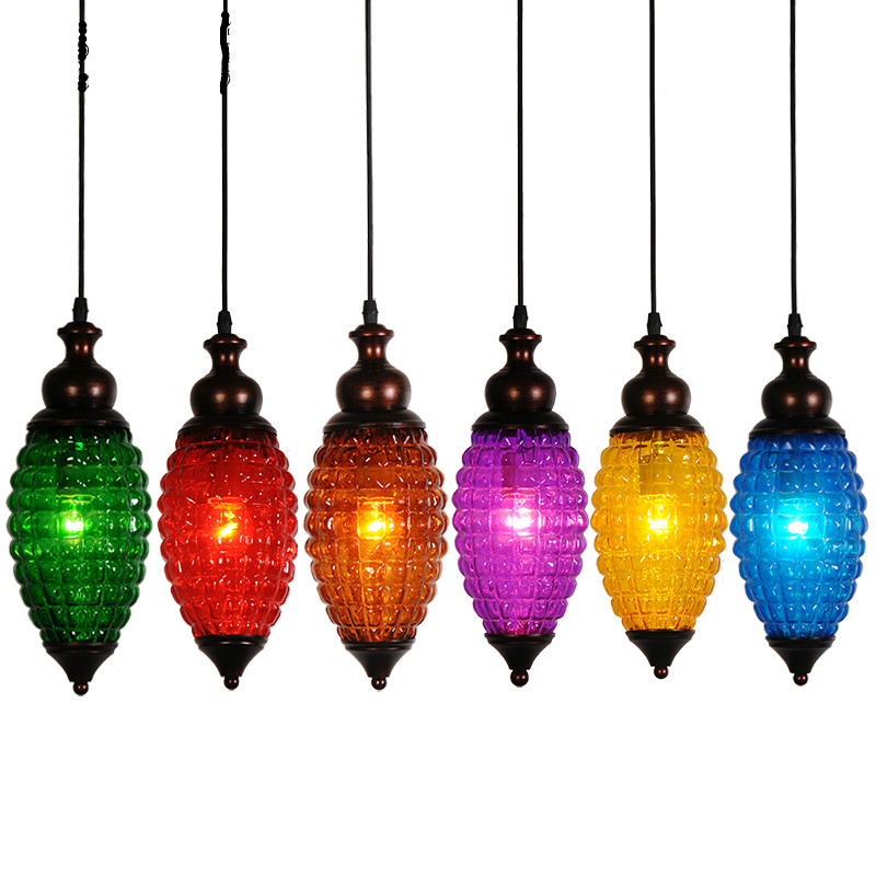 Vintage Mediterranean Sea Bohemia 6 Colors Glass Iron Led E27 Pendant Light For Dining Room Coffee Bar Restaurant H 35cm 2036 room id flag system 6 flags primary colors