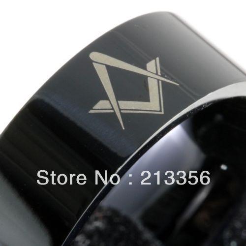 Free Shipping Buy Cheap Price Discount Jewel USA HOT Selling 8MM Men&Womens Masonic Freemason Black Pipe Tungsten Wedding Rings