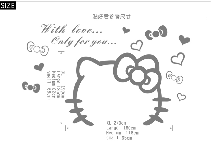 ... Jiu Jiu Cartoon Girl Bedroom Bedside Wall Stickers Decorative Stickers  90862 Hello Kitty Part 70