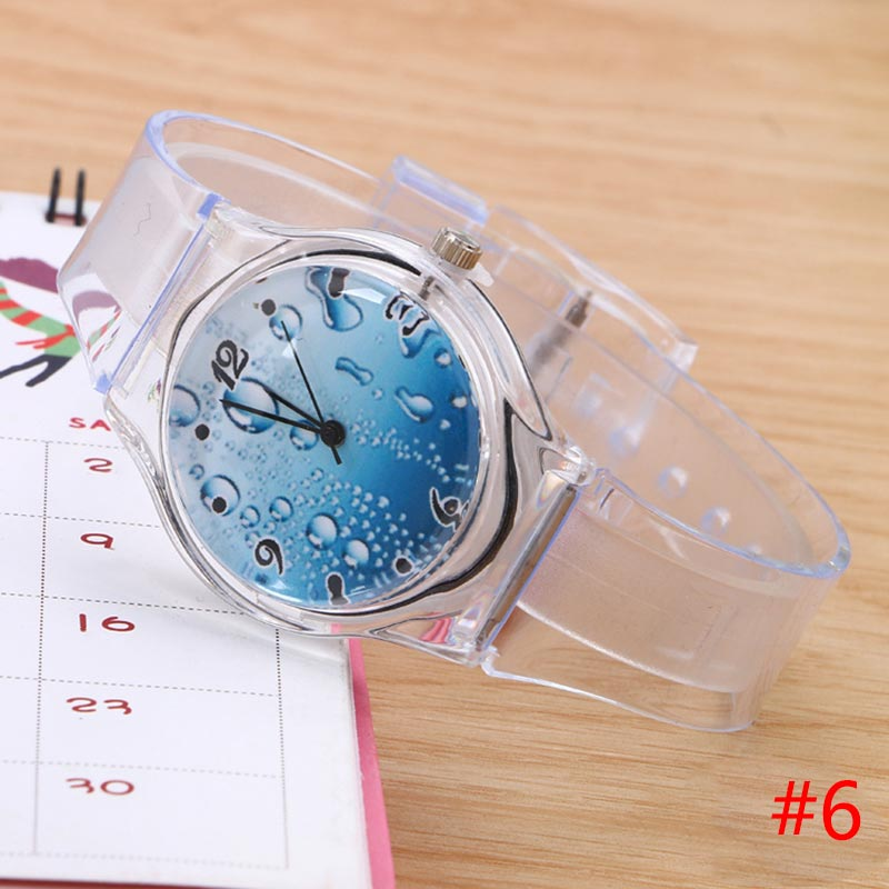 Lovely Kids Boys Girls Quartz Watch Transparent Silicone Gel Band Wristwatch Student Gifts LXH