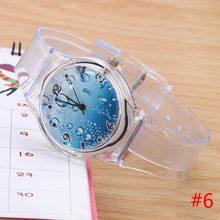 Lovely Kids Boys Girls Quartz Watch Transparent Silicone Gel Band Wristwatch
