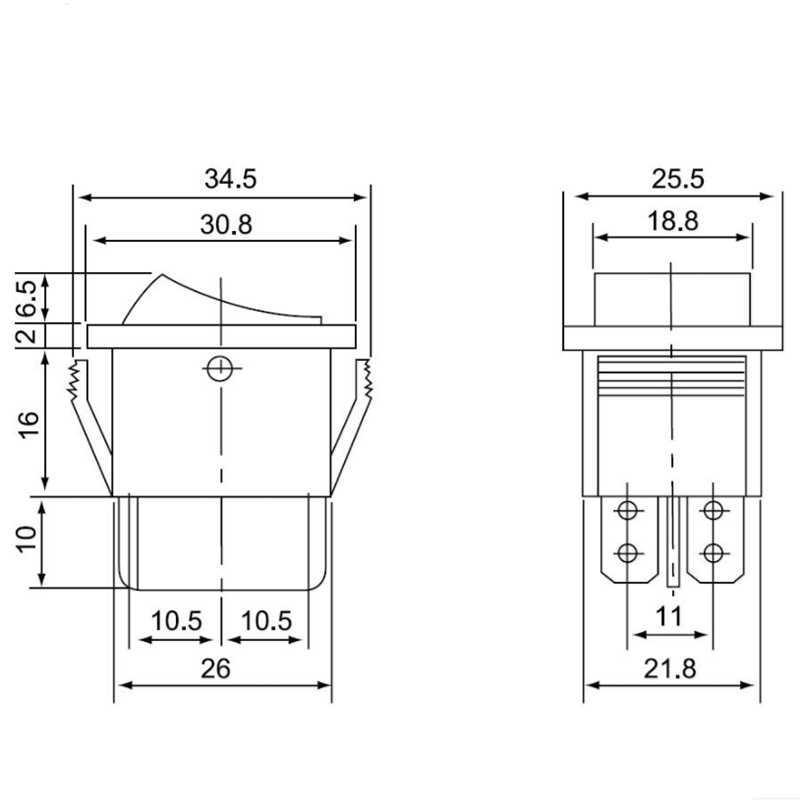 1 قطعة KCD4 6 دبوس التبديل الروك الأسود على الخروج على 3 موقف 16A 250VAC/20A 125VAC إعادة تعيين مفتاح الطاقة