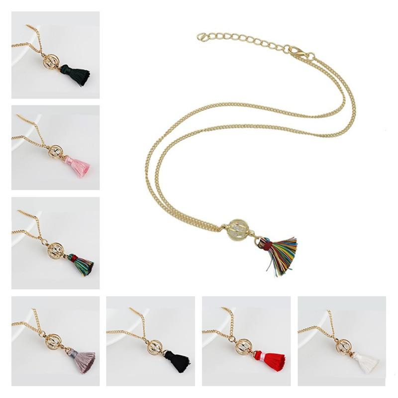 Accessories Woman Jewelry 1Pcs Exotic Crystal Ball Geometric Tassel Necklace