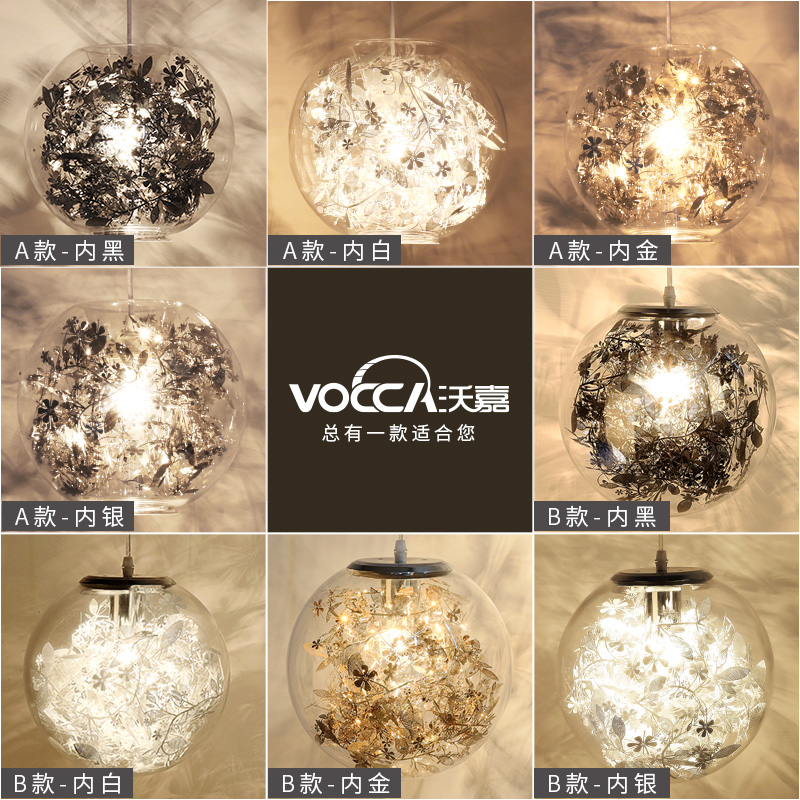 A1 Glazen bal hanglampen slaapkamer lamp creatieve persoonlijkheid ...