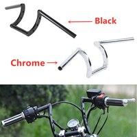 Motorcycle Chrome & Black Z Bars 1 Handle Hanger bar For Harley Custom Bobber Softail Dyna Sportster XL 883 1200