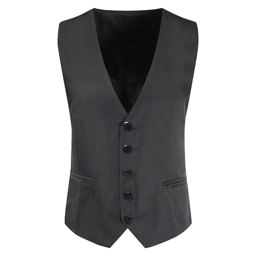 2019 Suit Vest Men Fashion Vintage Formal Business Men's Single Breasted V-Neck Waistcoat Waist Vest Chaleco D90702