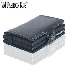 VM FASHION KISS RFID Wallet Safe Genuine Leather 2 Aluminum Box Credit Card wallets Anti Scanning Information Business Card Hold(China)