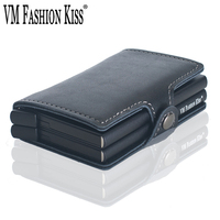 VM FASHION KISS RFID Wallet Safe Genuine Leather 2 Aluminum Box Credit Card wallets Anti Scanning Information Business Card Hold