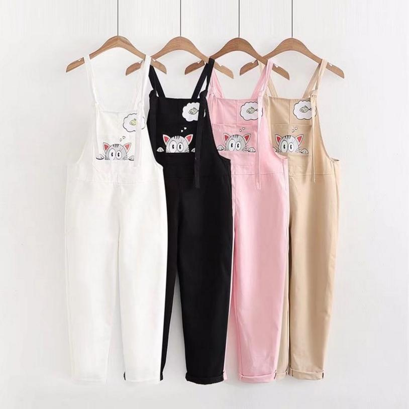 Japan Style Girl Cute Cartoon Cat Printing Embroidered Pink Overalls White Black Khaki Jumpsuits Female Summer Kwaii Overalls