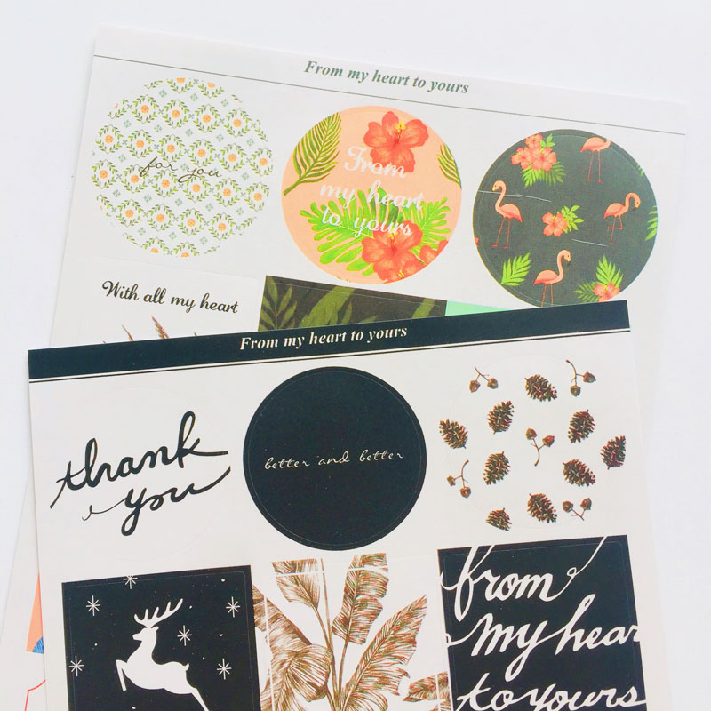 2 Sheets /Pack Elegant Best Wishes Paper Hand Account Notebook Decorative Sticker Stick Label