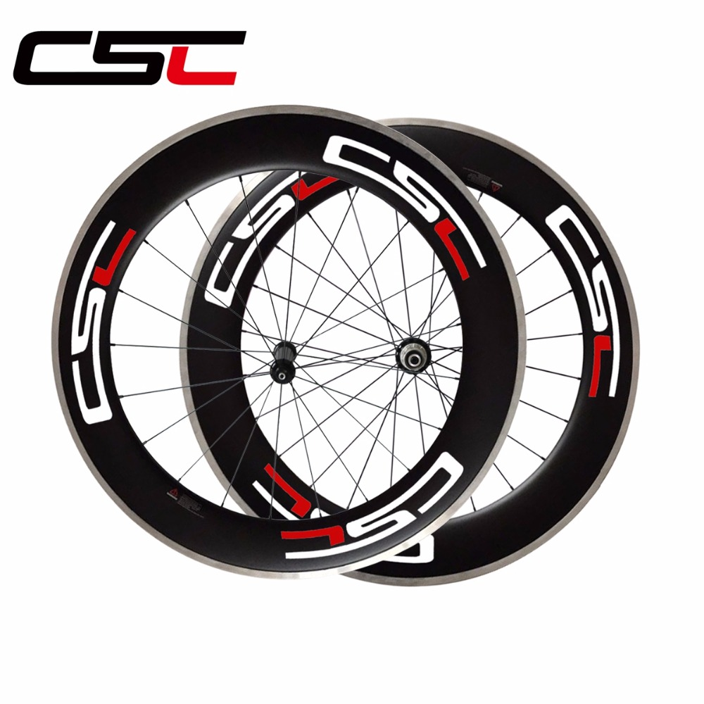 CSC 700C 23mm width 80mm depth clincher bike wheelset R36 hub alloy breaking surface road bicycle