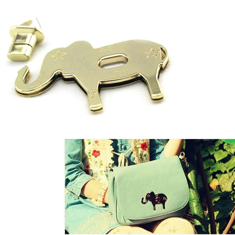 8.5x6cm Bag Lock Purse Twist Lock Closure Turn Lock Fastener Light Golden Metal Elephant Lock For Tote Handbag